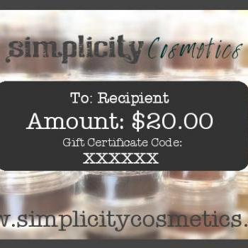 Mineral Makeup Digital Gift Certificate - 20 Dollars - Simplicity Cosmetics